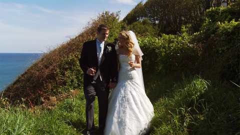 Stacy and Simon at Lostwithiel church