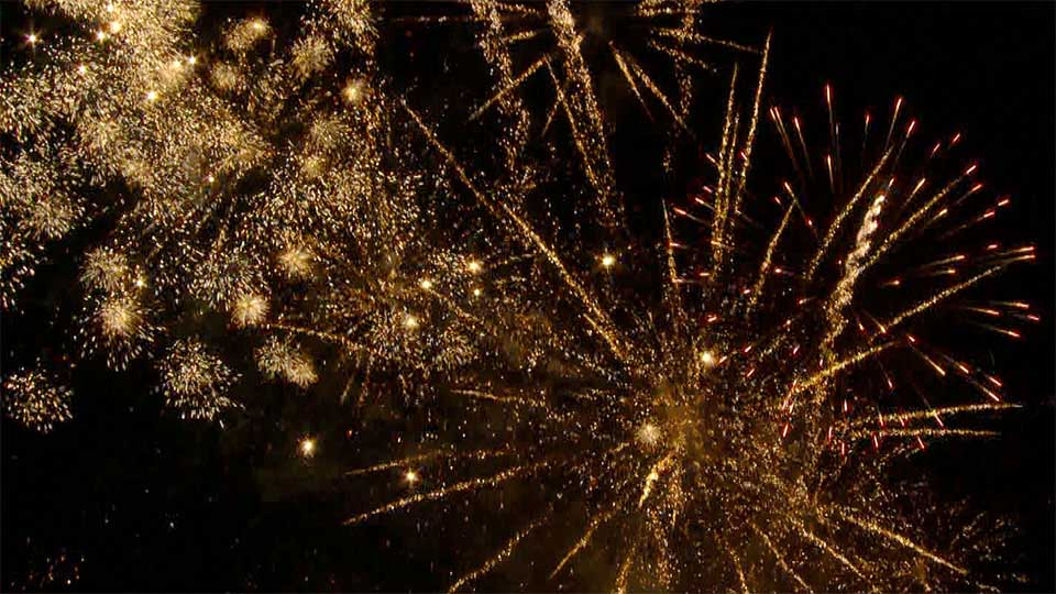 Fireworks display by Celebration Pyrotechnics at Scorrier house Cornwall