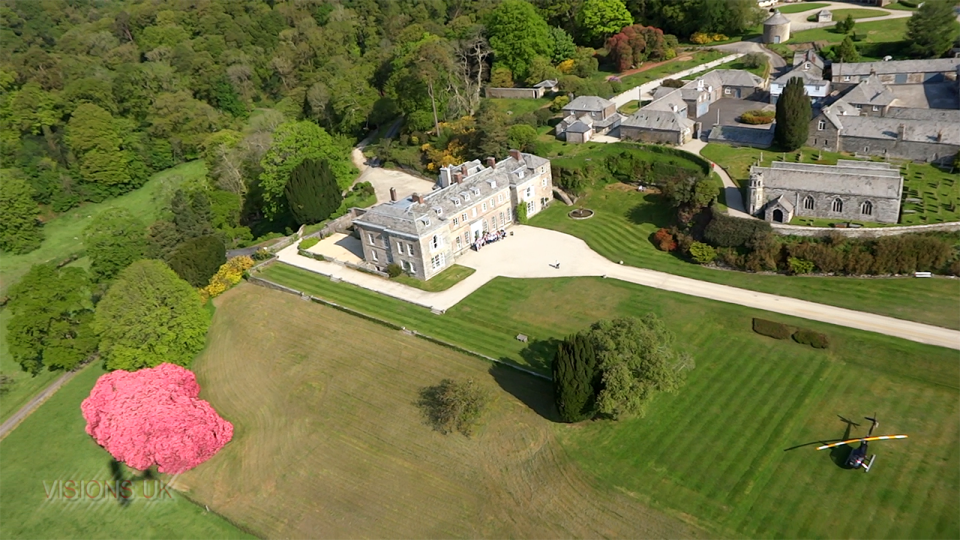 Boconnoc house from the air
