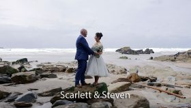 Scarlett and Steven at Lusty Glaze beach Cornwall